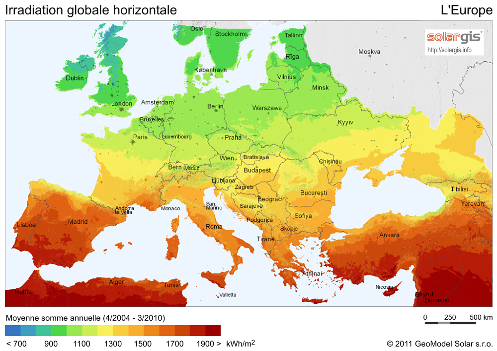 Irradiation de l'Europe